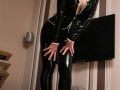 sexy latex secretary outfit on big tits model wearing rubber leggings + rubber jacket and high fetish shiny heels