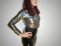 sexy latex redhead fetish secretary in rubber outfit - shiny latex shirt + latex shirt and high heels