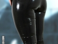 sexy latex model in capri leggings with frill and top with lacing imitation
