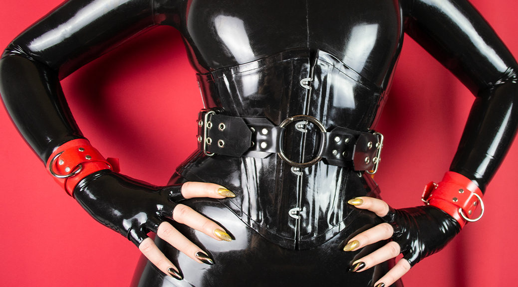 Gothwitch Lilith in black full enclosure latex catsuit #1